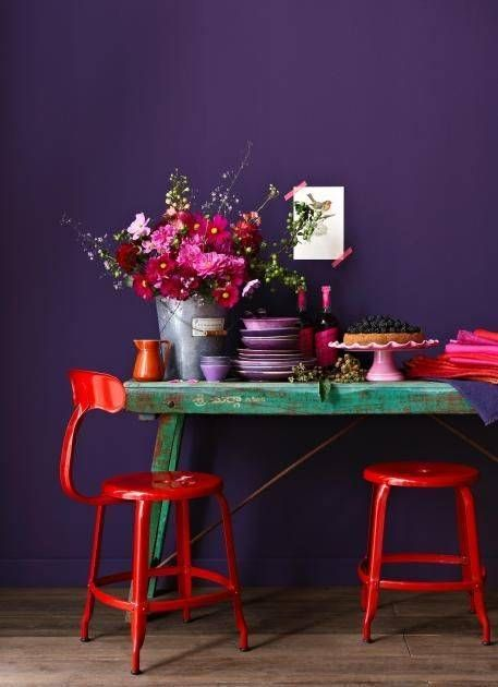 Unexpected color pairing that makes a statement: crimson and deep violet, Domino.