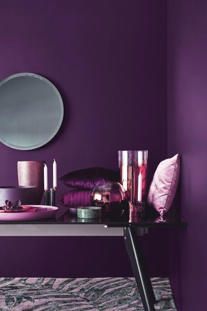 Shades of the ultra violet trend combined with copper accents, Eclectic Trends.