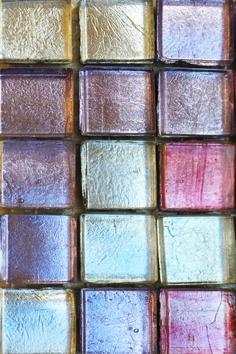 Iridescent glass mosaic tile, 1 by 1.