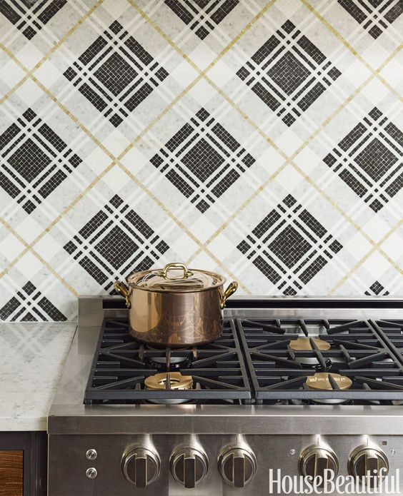 Plaid pattern mosaic tile kitchen backsplash, House Beautiful.