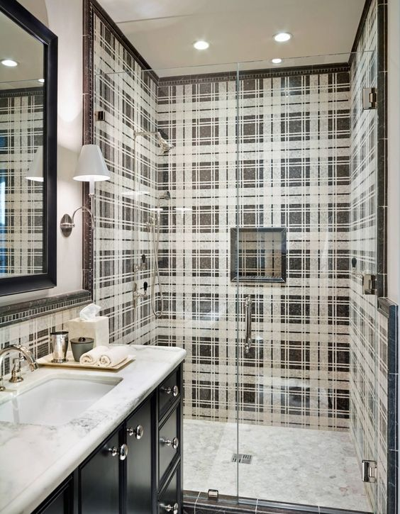 Plaid pattern tile in a shower enclosure, Wiseman and Gale Interiors.