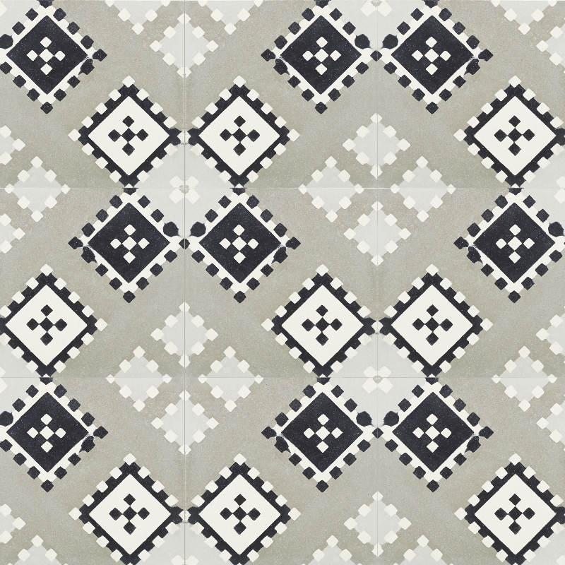 Cement tile, black white neutrals, square patterns.