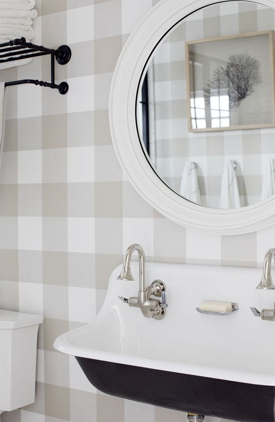 Spare bathroom with plaid wallpaper. Design Jillian Harris.