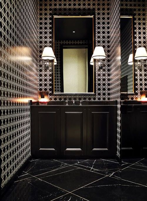 Black Bathroom Marble Floor Floors And Intense Geometric Walls Interiors By Color.