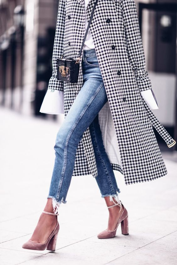 Black and white checked Trench coat.