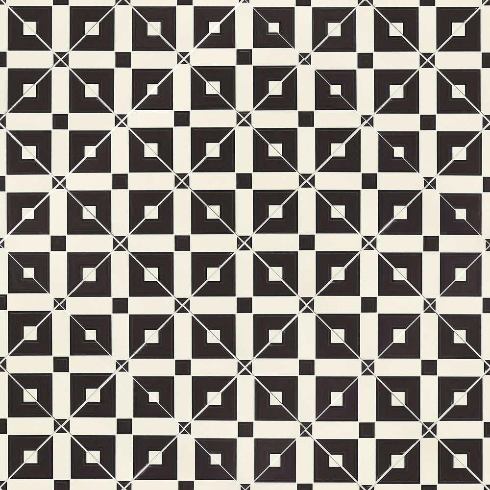 Cement tile, black and white squares, diagonal.