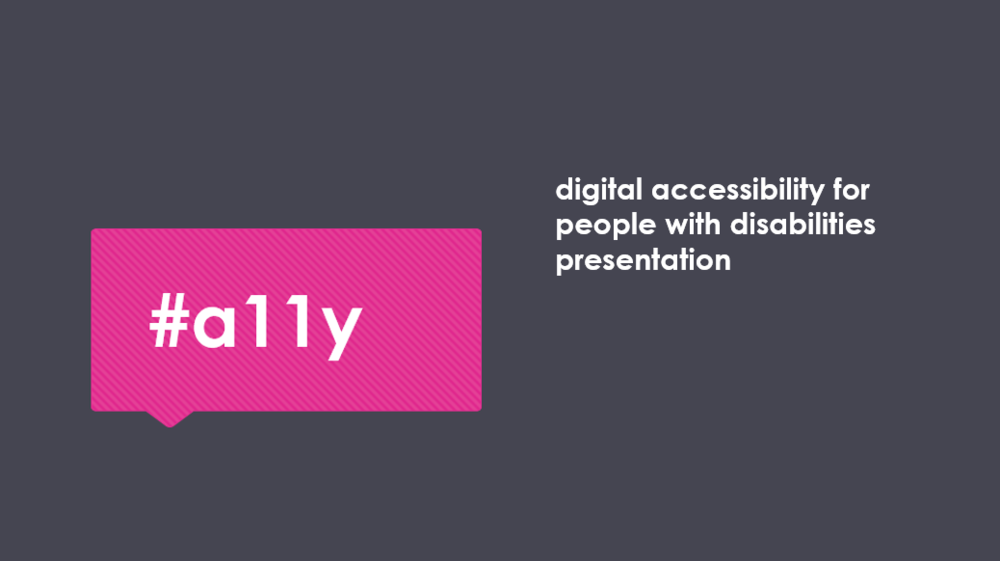 "#a11y is a hashtag being used on social media meaning ""accessibility"" because it starts with an ""A"" ends with a ""Y"" and has eleven letters in between."