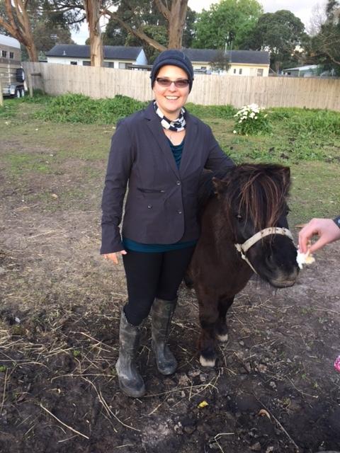 Eliza with a shetland pony