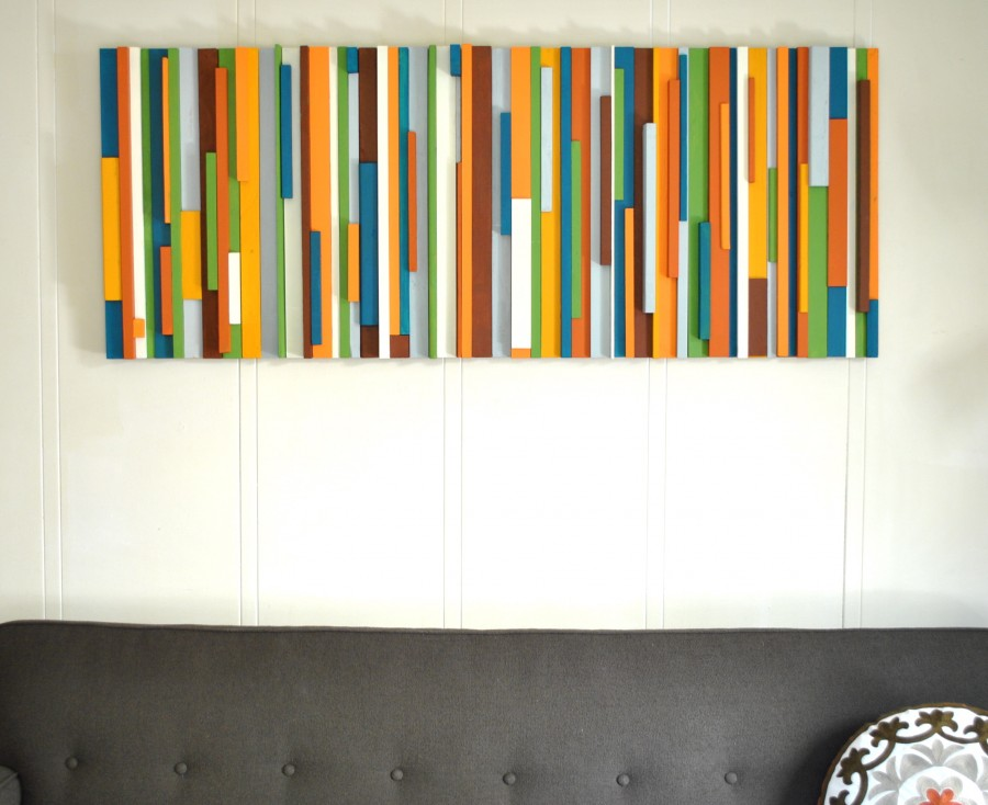 Painted wood wall art salvage love