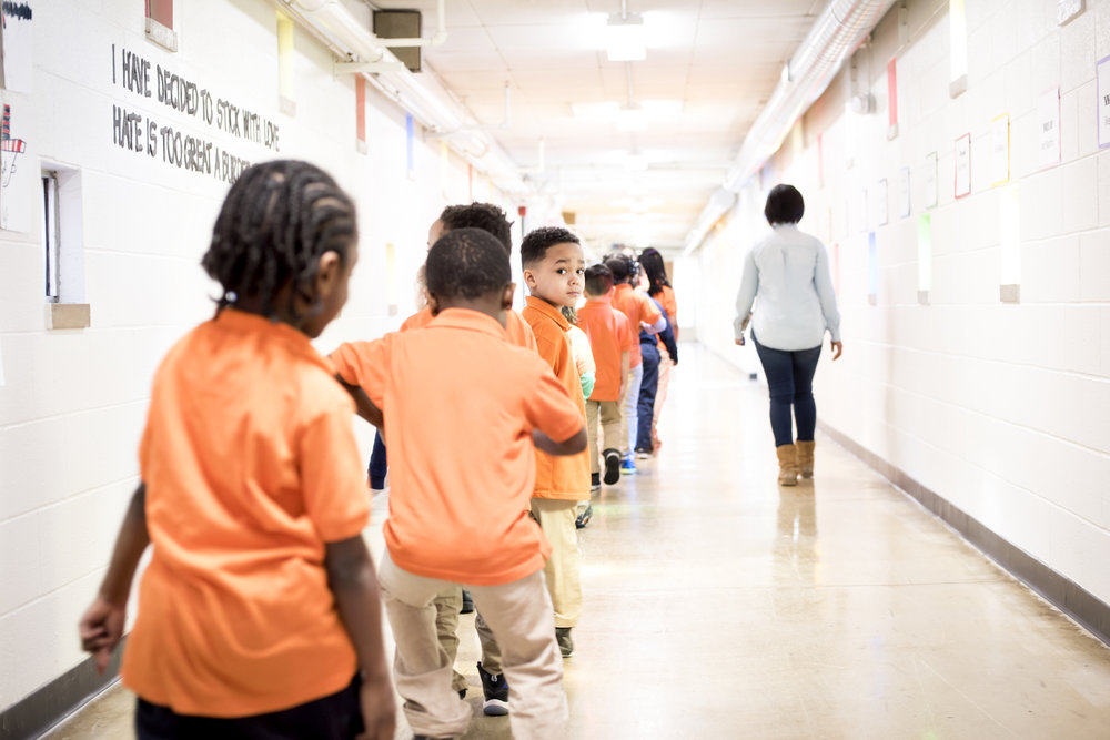 Students lined up in hallway at KIPP North Star Primary
