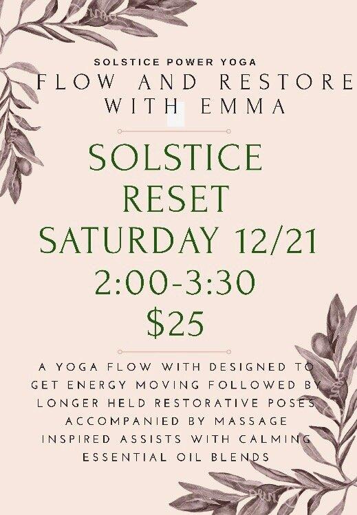 Flow Restore Winter Solstice Reset Solstice Power Yoga