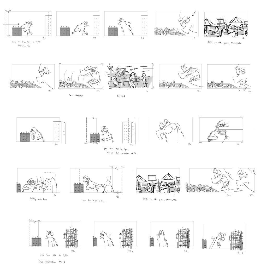 Storyboards for a scene in  Living Fossil