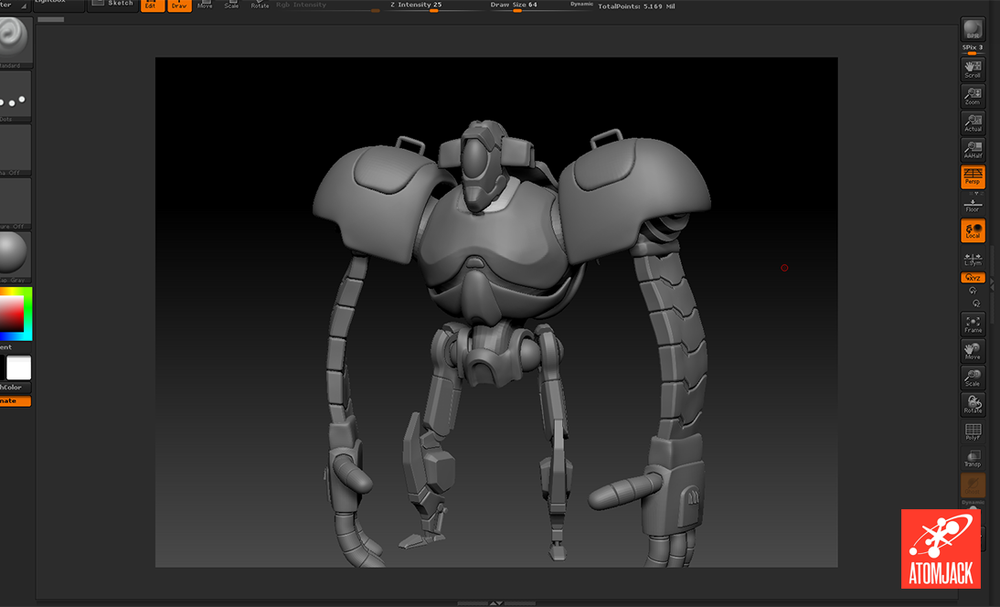 An early, high-poly pass on the Robot model in Zbrush.