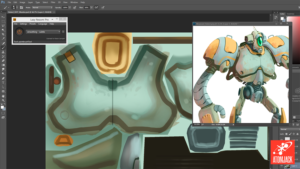 The diffuse (unlit) texture being painted in Photoshop. The concept art is kept open for quick reference.