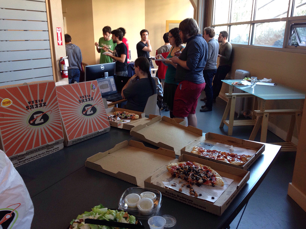 Pizza! It fuels game developers. (Also coffee. Lots and lots of coffee.)