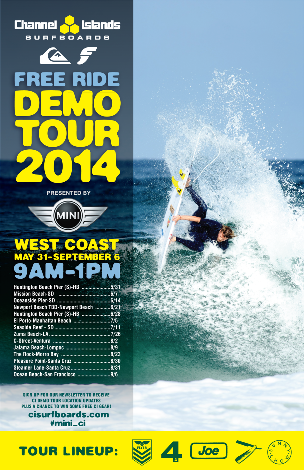 Channel Islands Surfboards - Demo Tour 2013 Poster