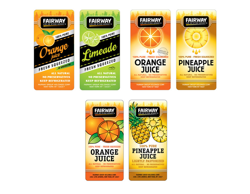 Fairway Juice Labels - Phase 1 - Design Exploration