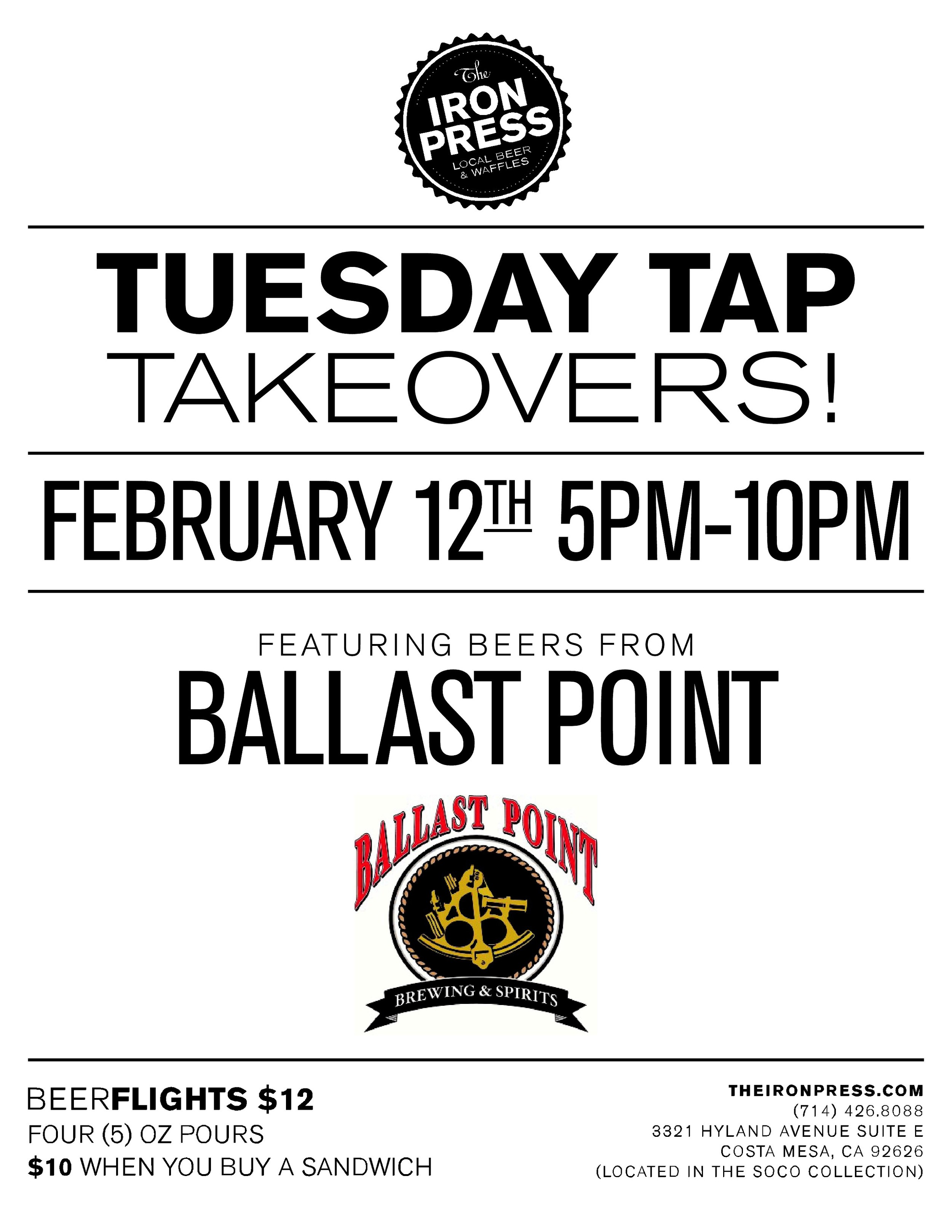 Tuesday Tap Takeovers – Ballast Point Brewing