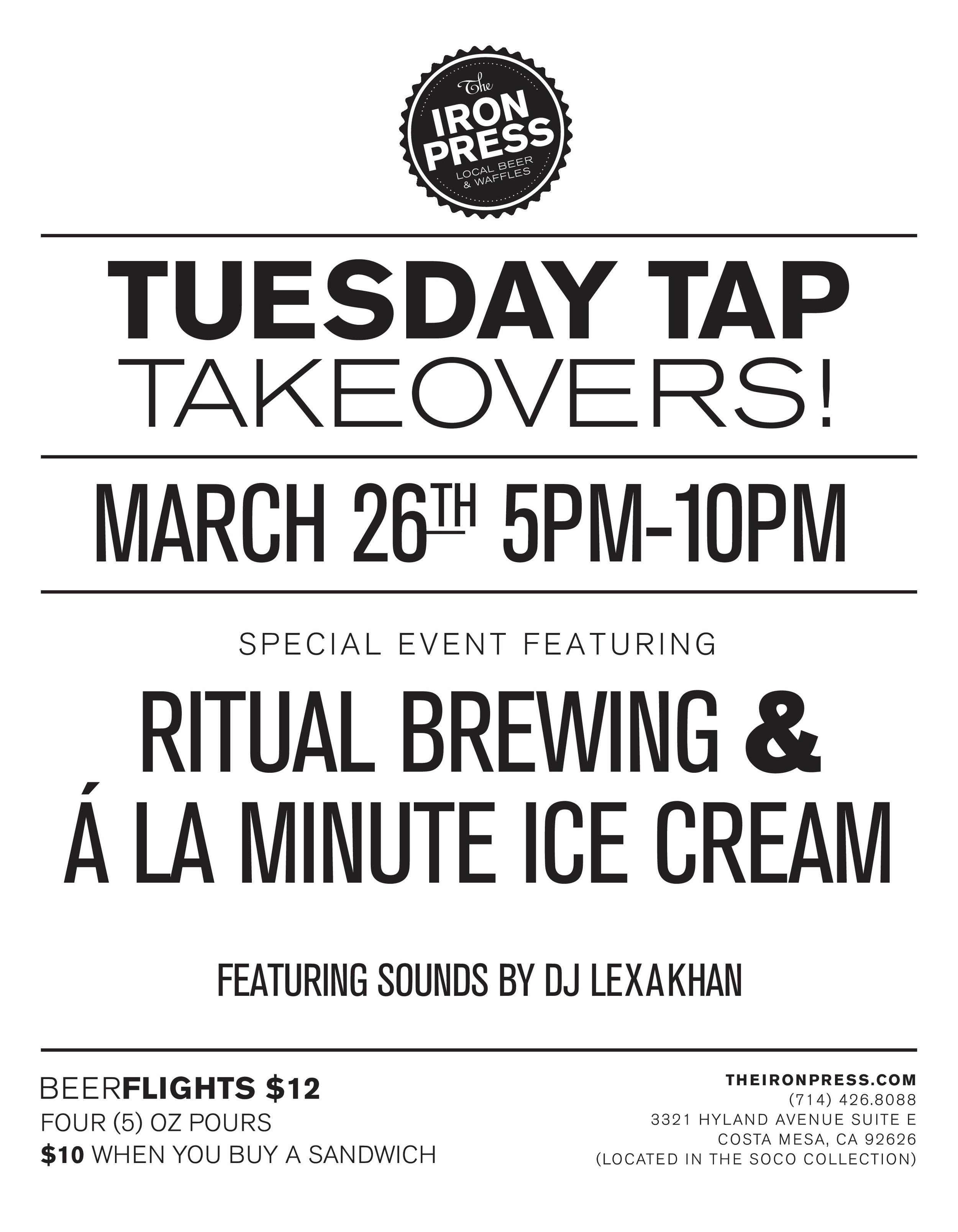 Tap Takeover - Ritual Brewing x à la minute Ice Cream