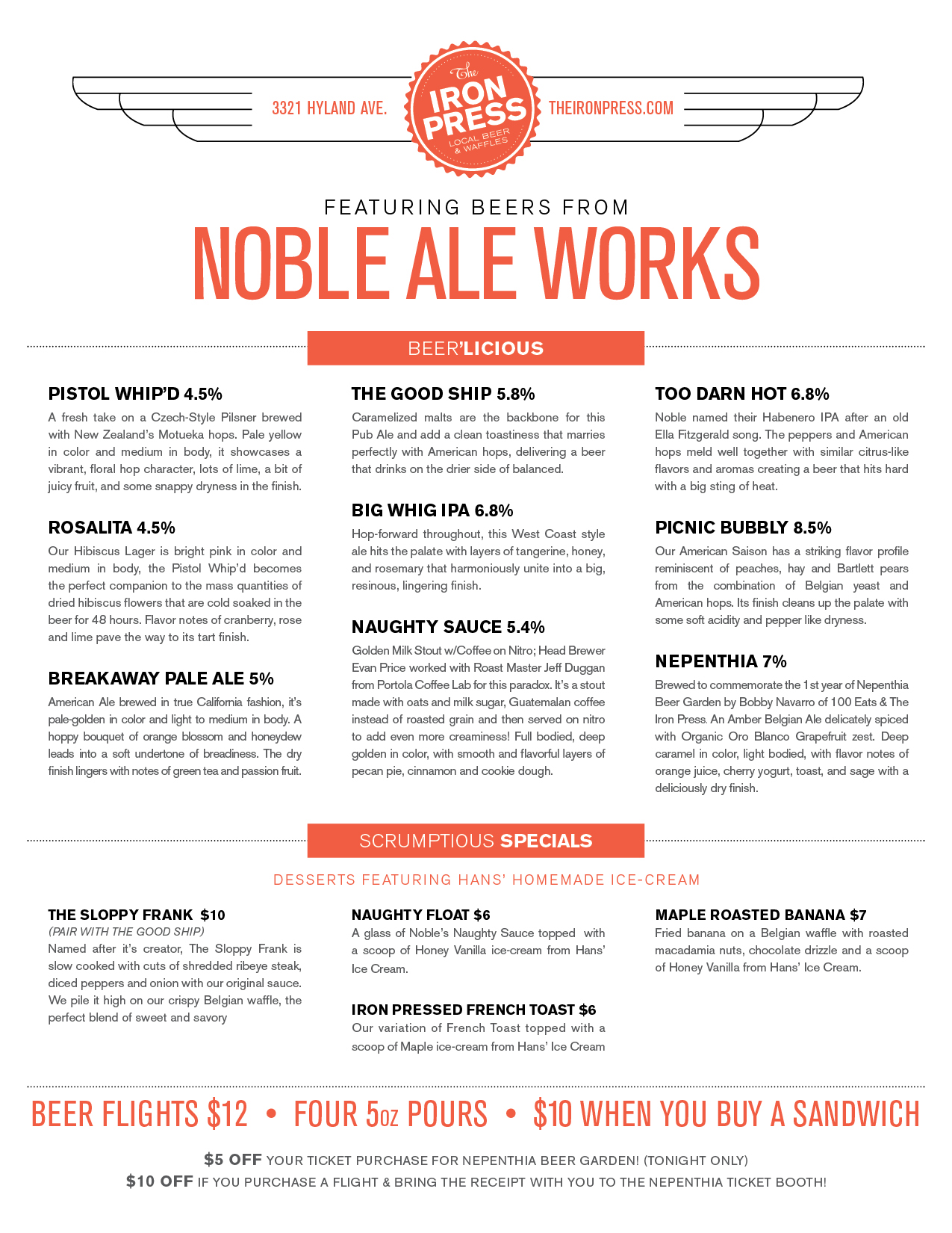 Noble Ale Works x Hans' Homemade Ice Cream x Nepenthia x The Iron Press