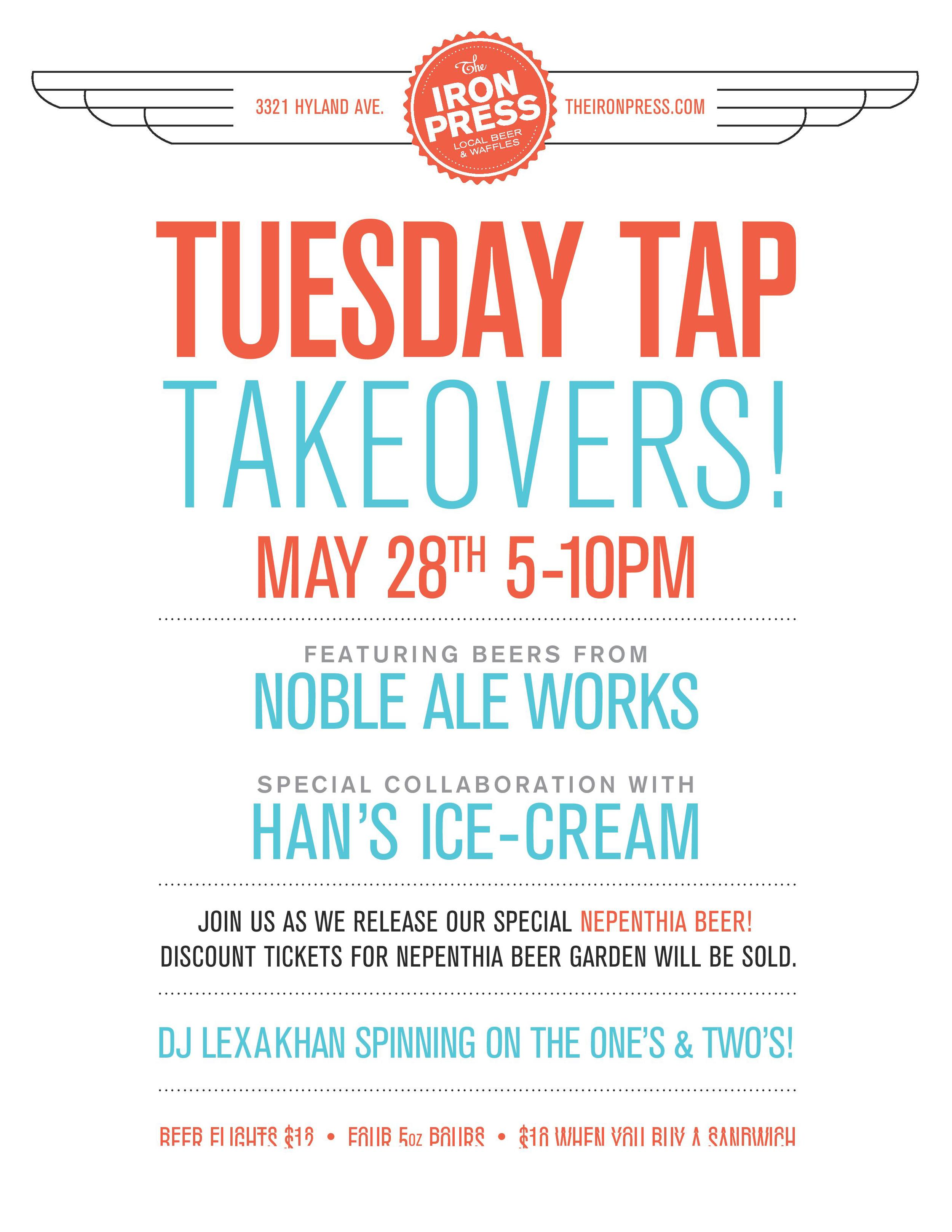Tuesday Tap Takeovers - The Noble Ale Works x Han's Ice Cream x Nepenthia Beer Garden Edition