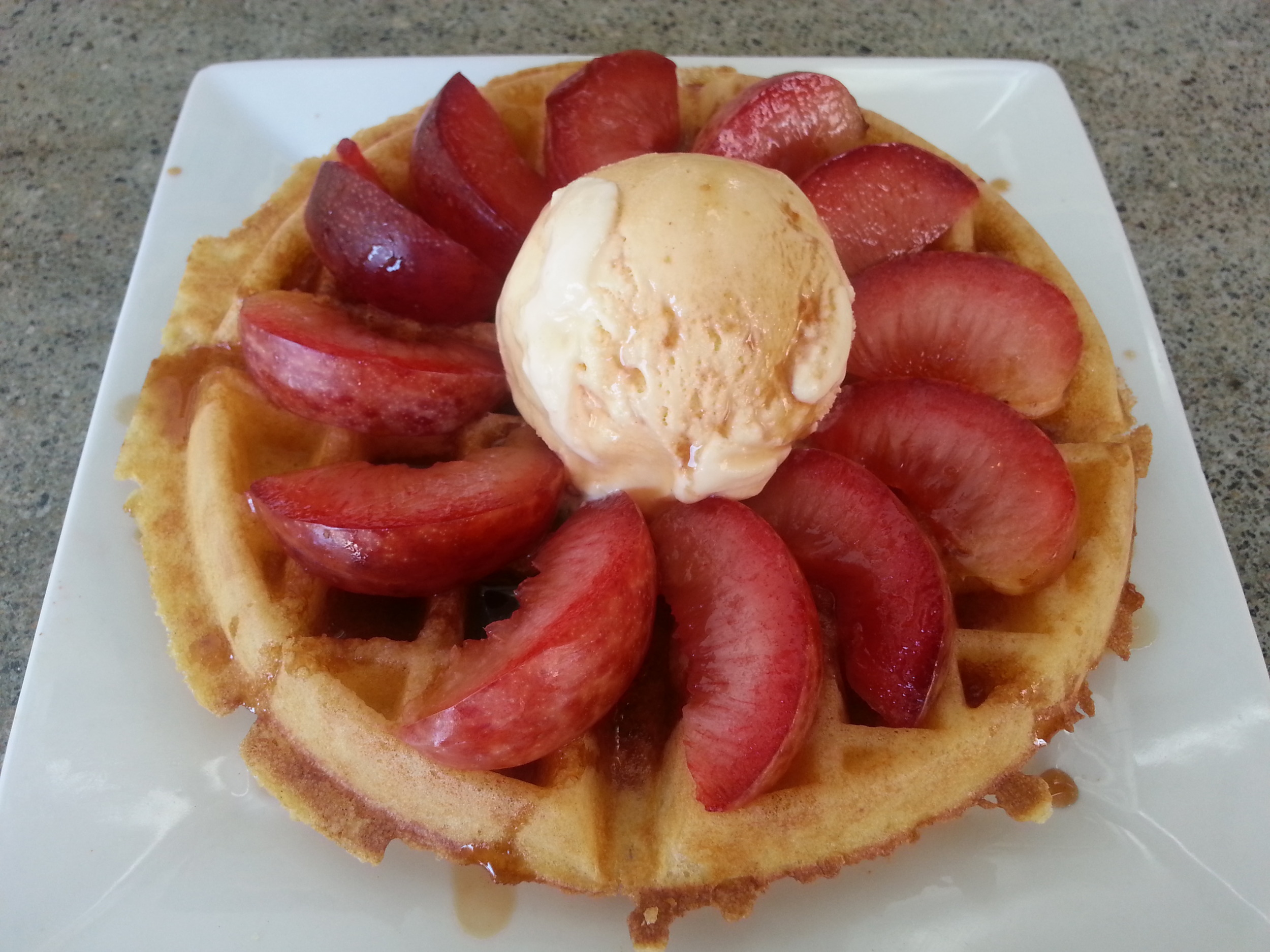 Belgian Waffle with Fresh Plums % Portola's Cascara Tea Syrup