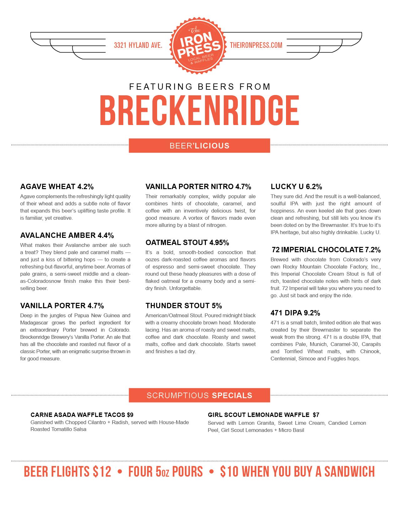 Breckenridge Brewery x The Iron Press