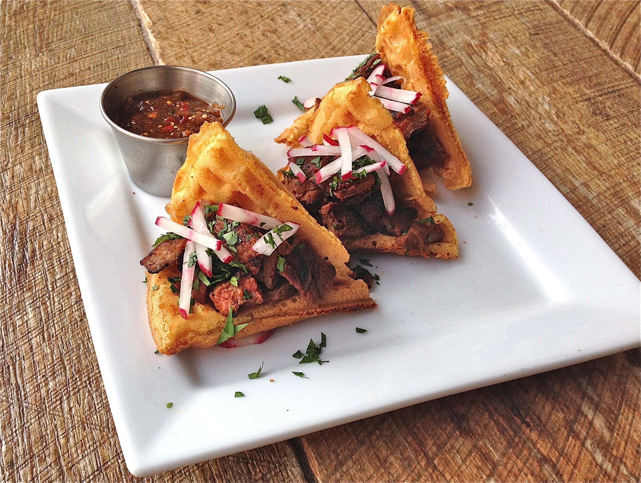 Carne Asada Waffle Tacos