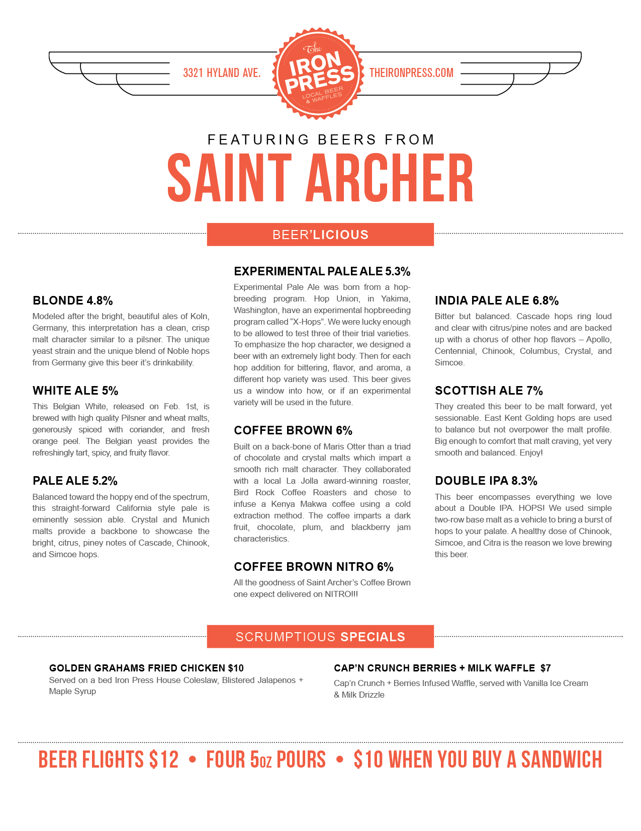 Saint Archer Brewing x The Iron Press