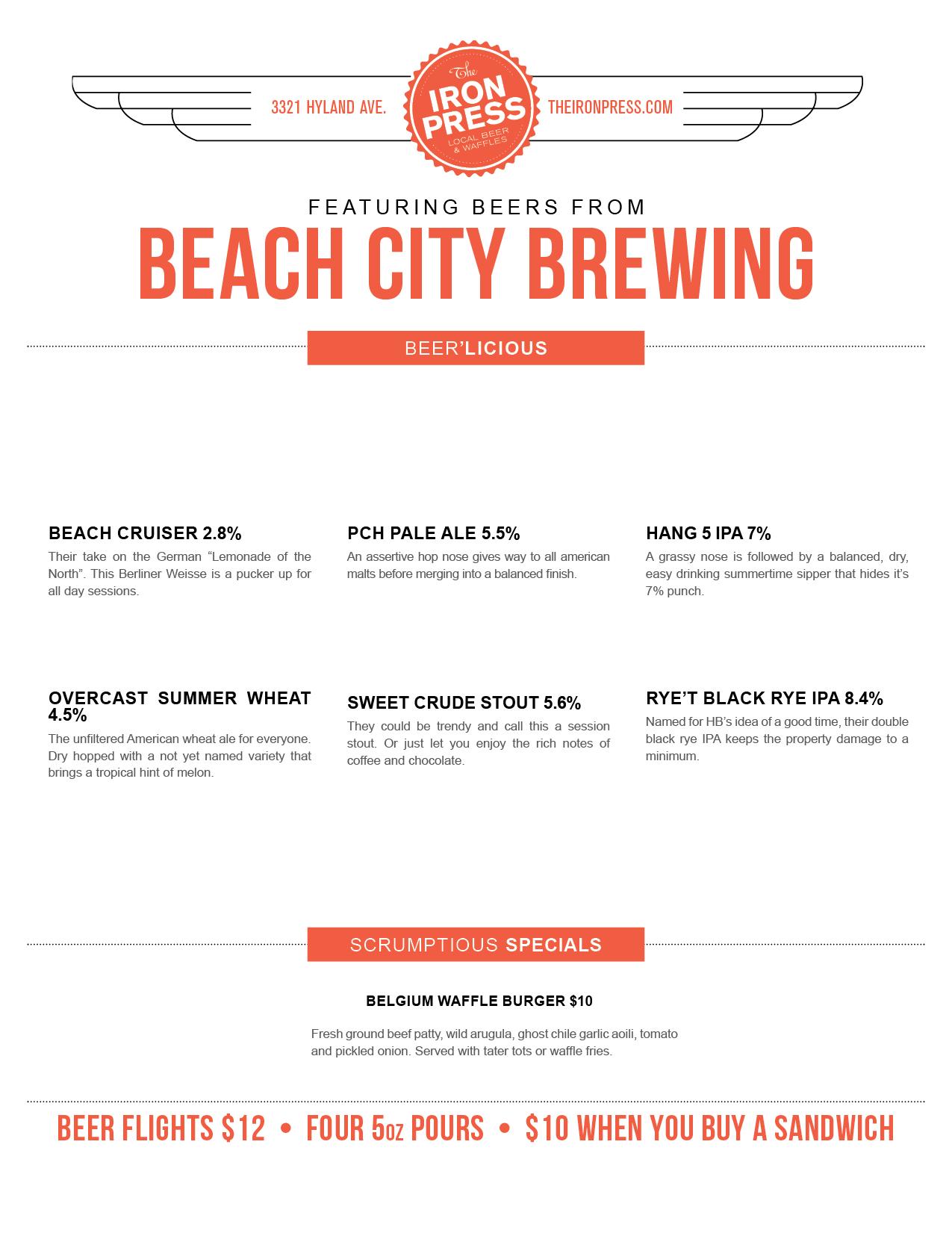 Beach City Brewery x The Iron Press