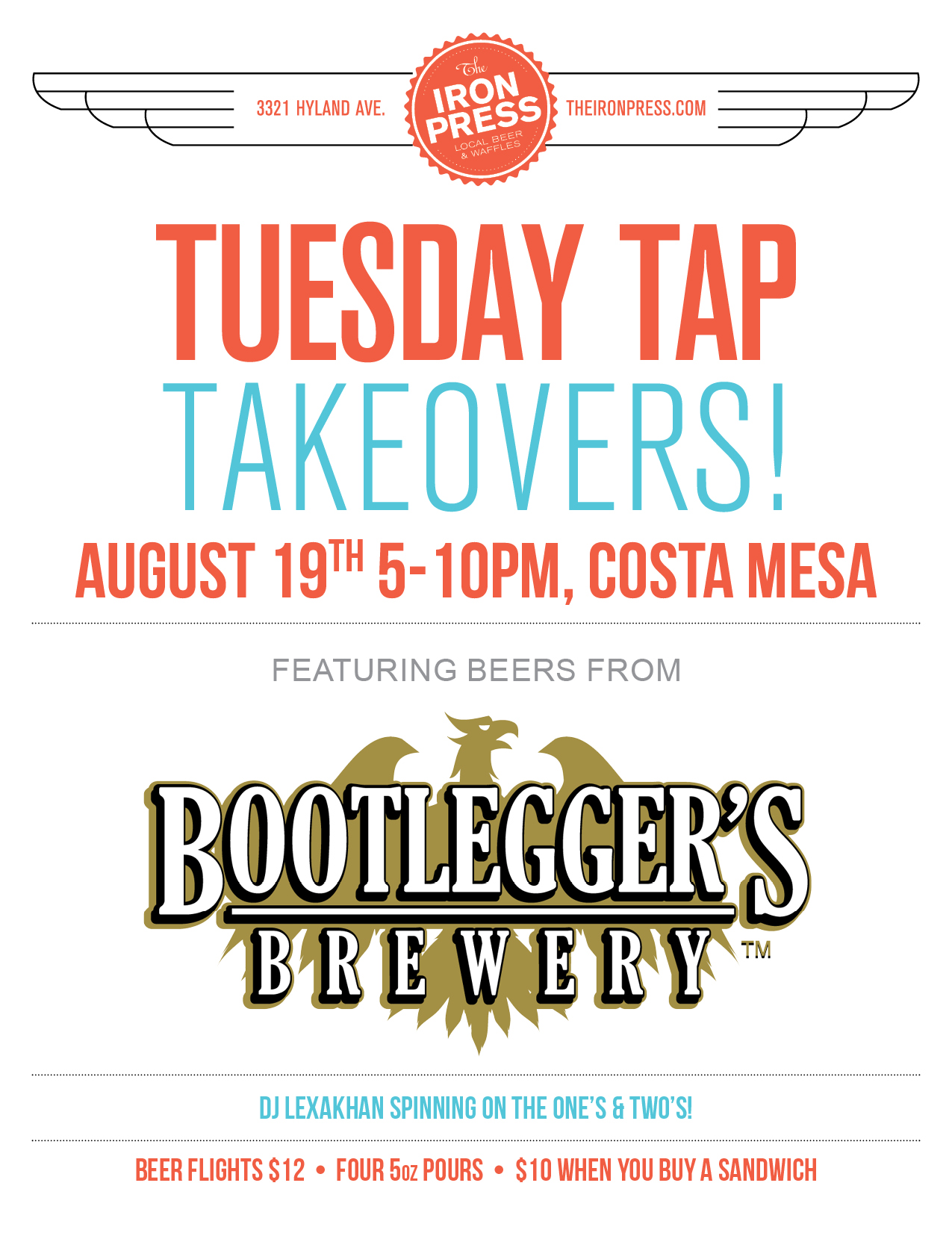 Tuesday Tap Takeovers - The Bootleggers Brewery 2.0 Edition