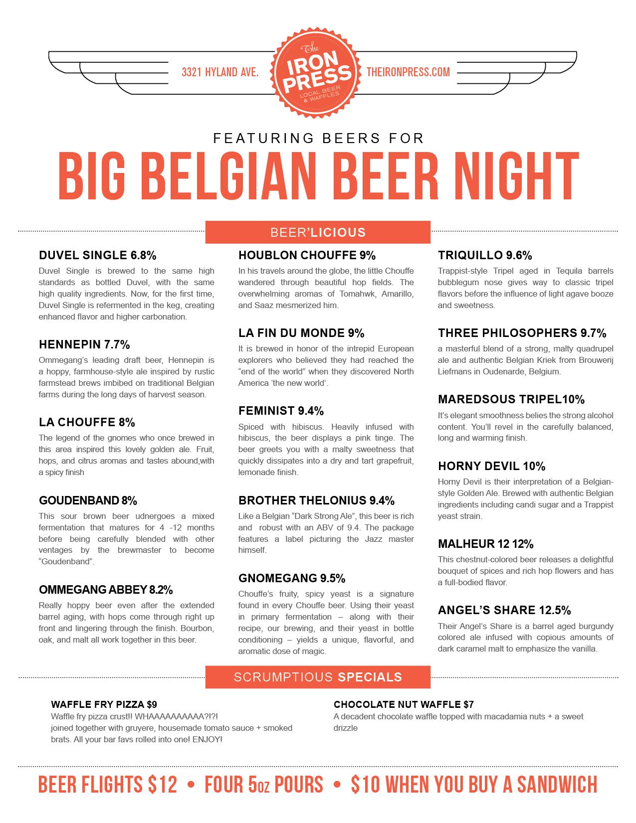Big Belgian Beer Menu