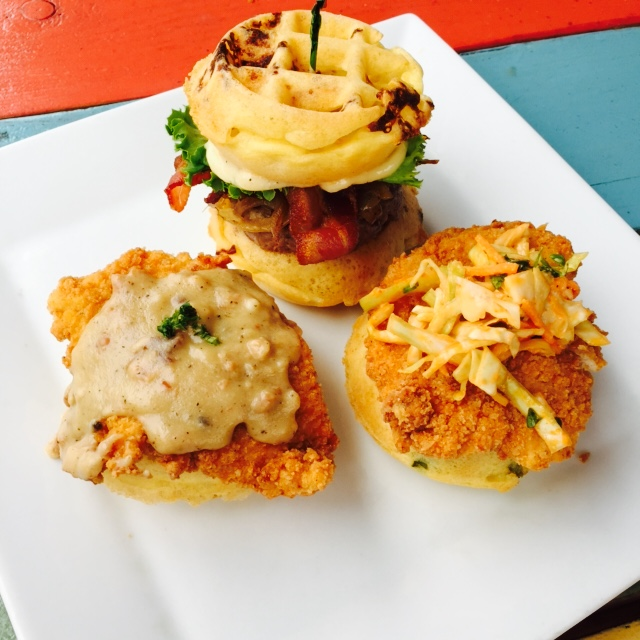 This Tuesday: Join us for our 3-year anniversary party in Costa Mesa. We will have a trio of epic food specials for ya'll!  Open face fried chicken - cheddar jalapeño waffle w/spicy slaw - Gouda waffle - house patty caramelized onions, garlic aioli, lettuce, tomato, bacon and Mini country style - fried chicken with country gravy.