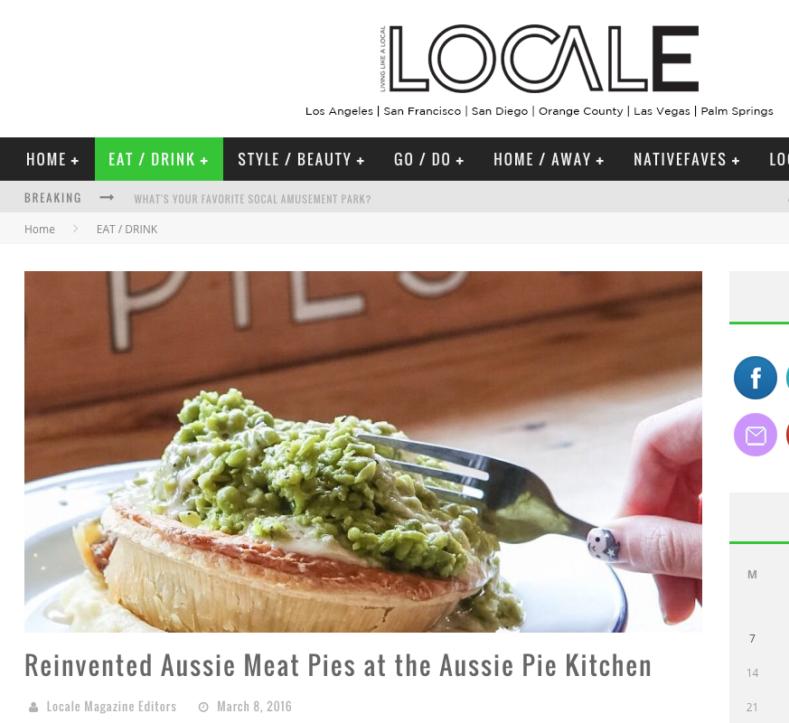 And thanks to Locale for their piece on our reinvention of the Aussie Pie