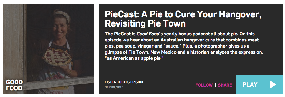 "EVAN KLEINMANOF KCRW""s GOOD FOOD TALKS TO NICK ABOUT PIES, THE FOOTY, RATS COFFINS AND PIE FLOATERS"