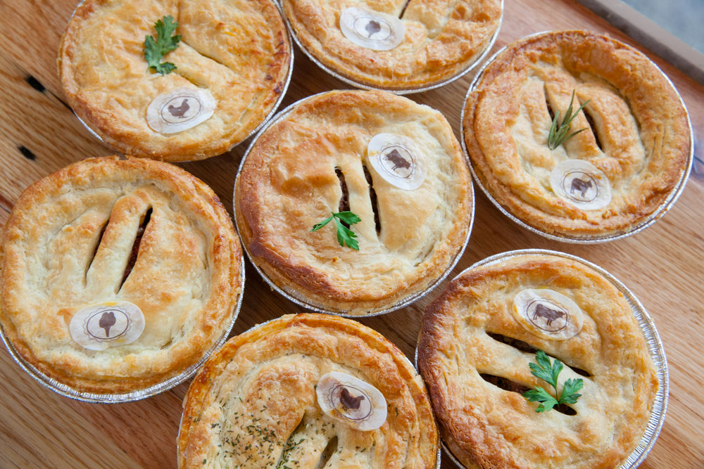 Order our 5 inch personal pies - Ground Beef*, Steak & Shiraz, Chicken Tarragon*, Lamb & Rosemary, Madras Veggie Curry*#, BBQ Pulled Pork - $7.95/$8.95/$11.95 each -- Buy 9 - get one free.