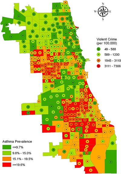 Mapping asthma prevalence and police-reported violent crime in Chicago