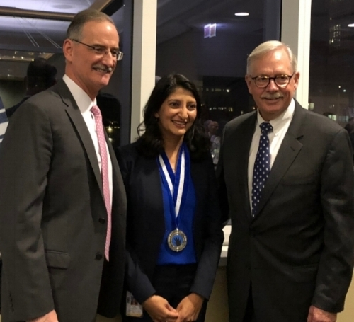 From left to right:   Thomas P. Shanley , Chair, Department of Pediatrics and Founders' Board Centennial Professor in Pediatrics, Pediatric & Chief Research Officer, Stanley Manne Children's Research Institute, Dr. Ruchi Gupta, and  Patrick M. Magoon , President & CEO Lurie Children's Hospital.