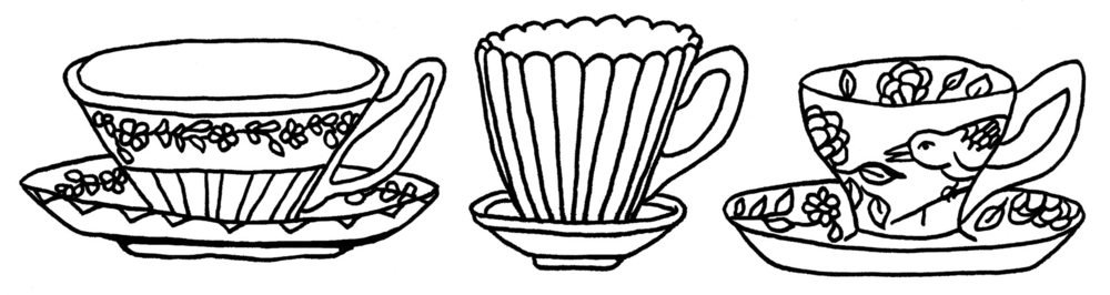 Three teacups by Teva Harrison