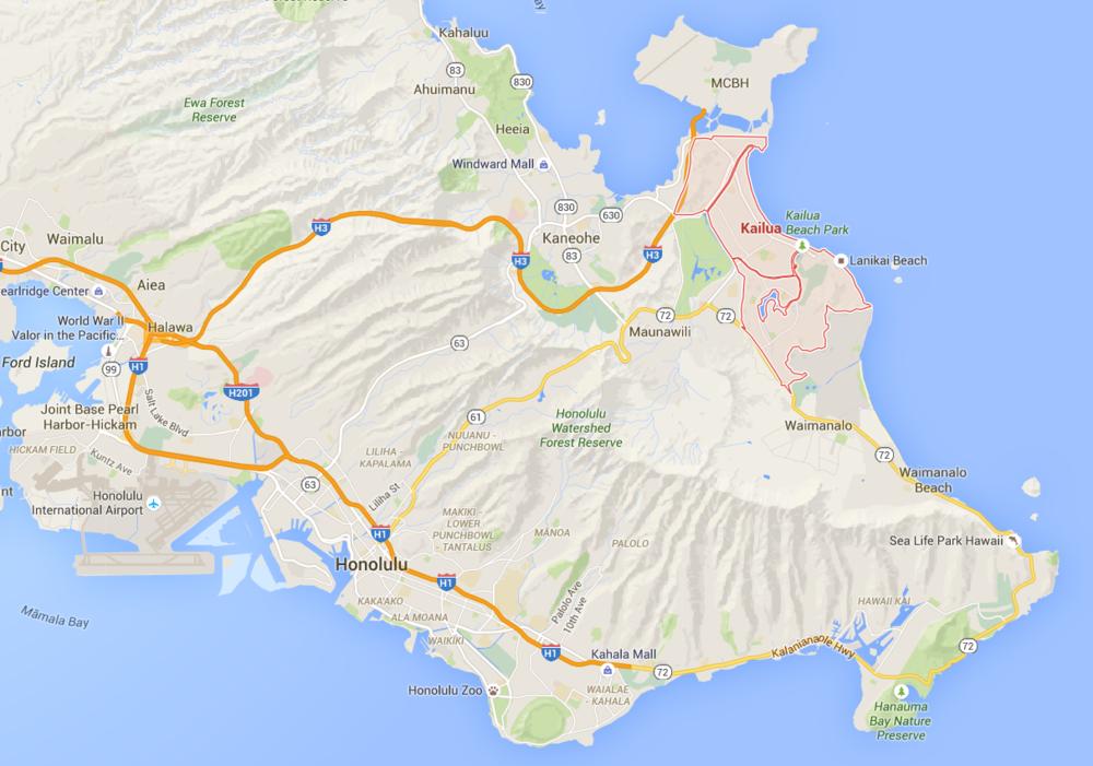 Kailua area map