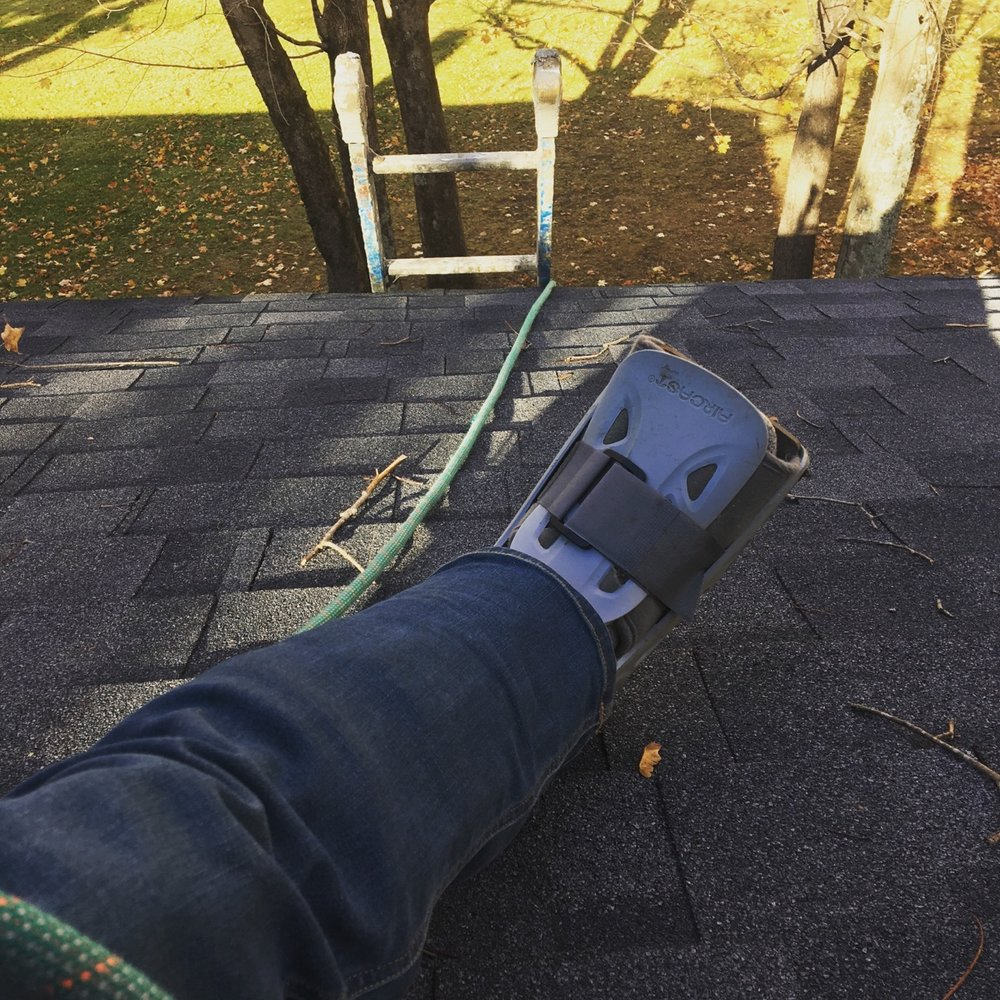 Back at work on a roof...risky!