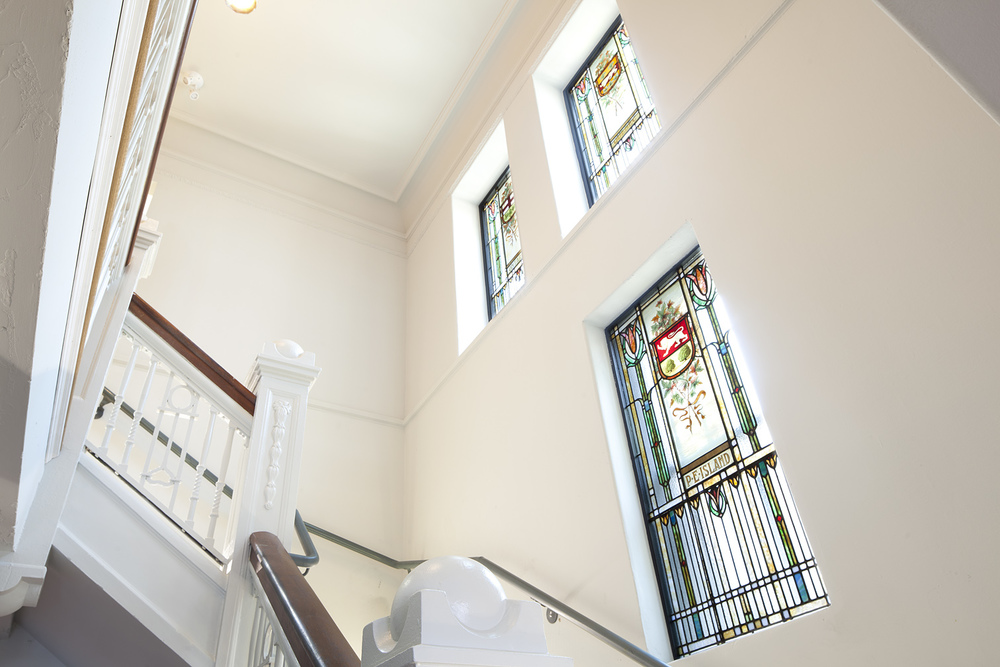 Staircase With Stained Glass Windows