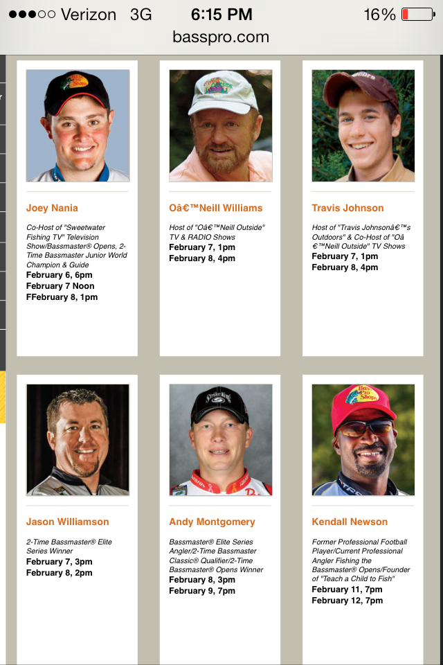 Full line up of professional anglers appearing in Lawrenceville Georgia!