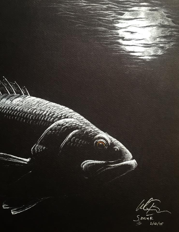 """Moon Stalker"" is a white charcoal on black paper.  This medium-type is one of my favorites."