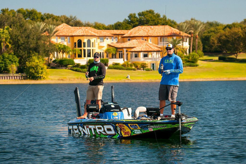 Joey's boat is still has his tournament wrap on it showing off his sponsors, which works pretty good, since Bass Pro Shops is one of our partners anyways.