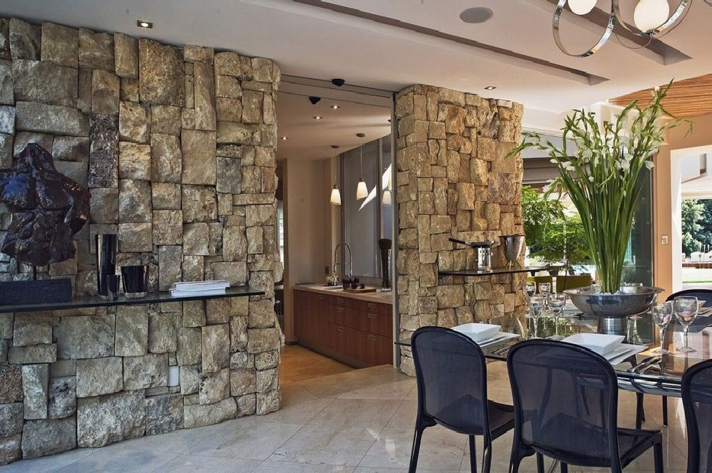Stone Wall Ideas At Impressive Glass House In