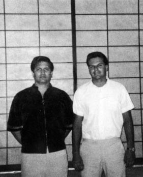 Ed Parker (age 35) and Richard Lee (age 26) in Lee's Castro Valley School - 1967