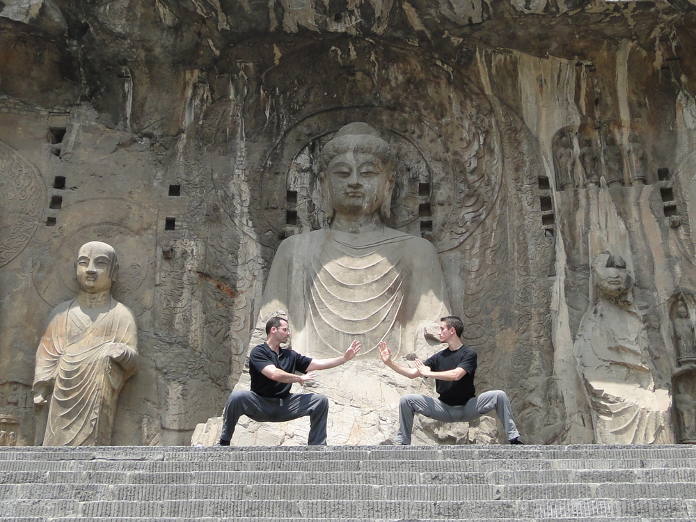 With Master John Buckley at the Longman Grottos, China.