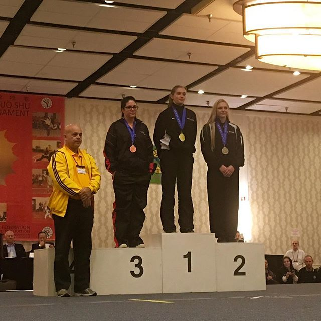 Ms Schmid on the podium receiving her medal for 2nd place in her weight division for Lei Tai full contact fighting. @usksf @ibfda_org #usksf2016
