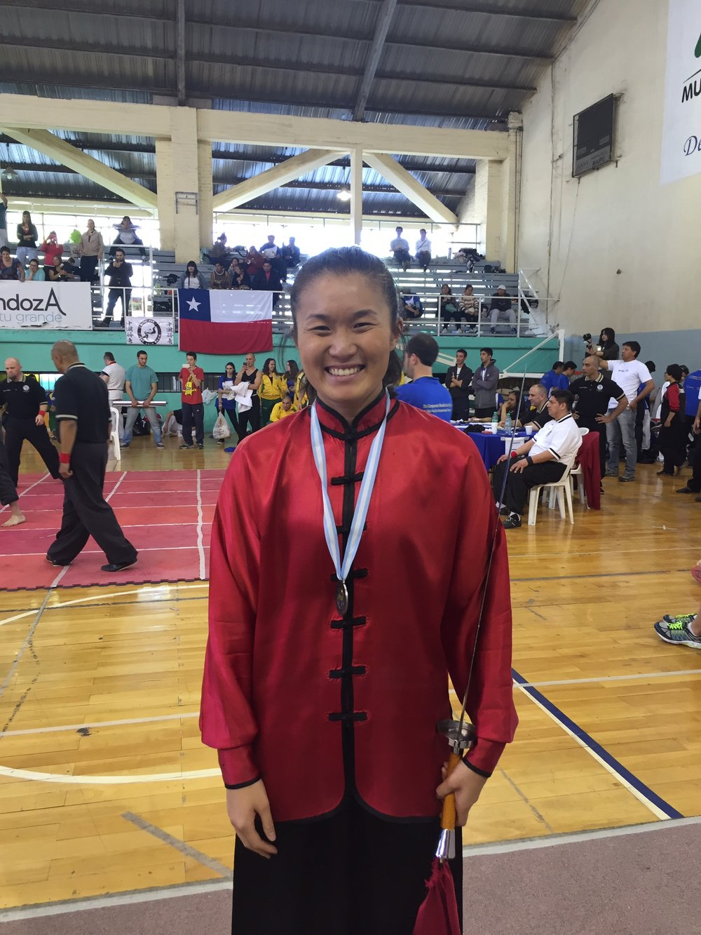 Ashley Dong wins second place for her broad sword form (2015)